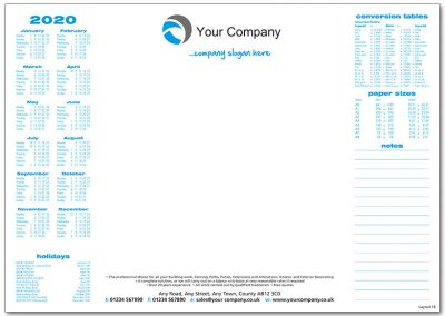 Template 16 with Calendar and Conversion Table