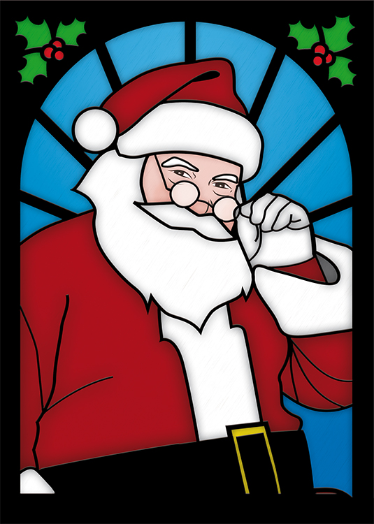 1665 - Stained Glass Santa Branded Christmas Card
