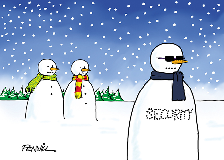 Funny1 - Security Snowman Branded Christmas Card