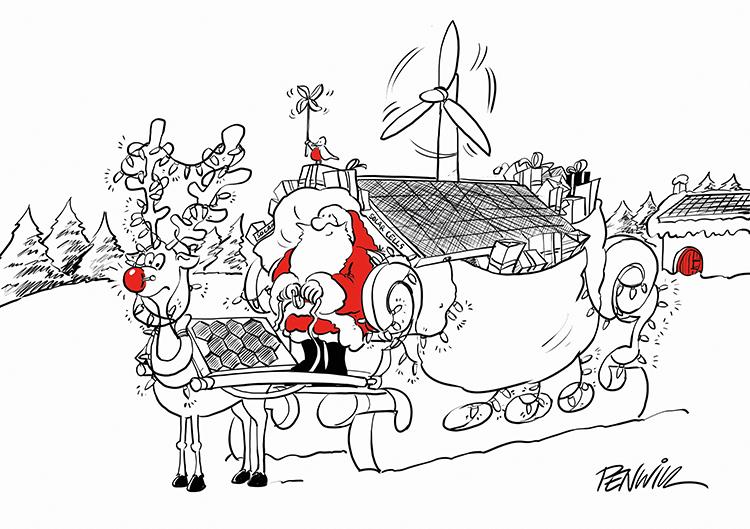Funny3 - Sleigh and Turbine Branded Christmas Card