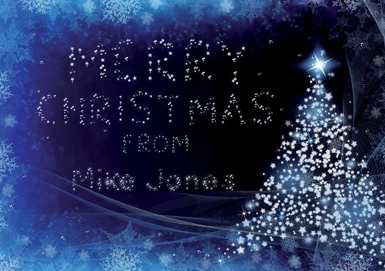 Personalised11 - Blue Glowing Tree Branded Christmas card