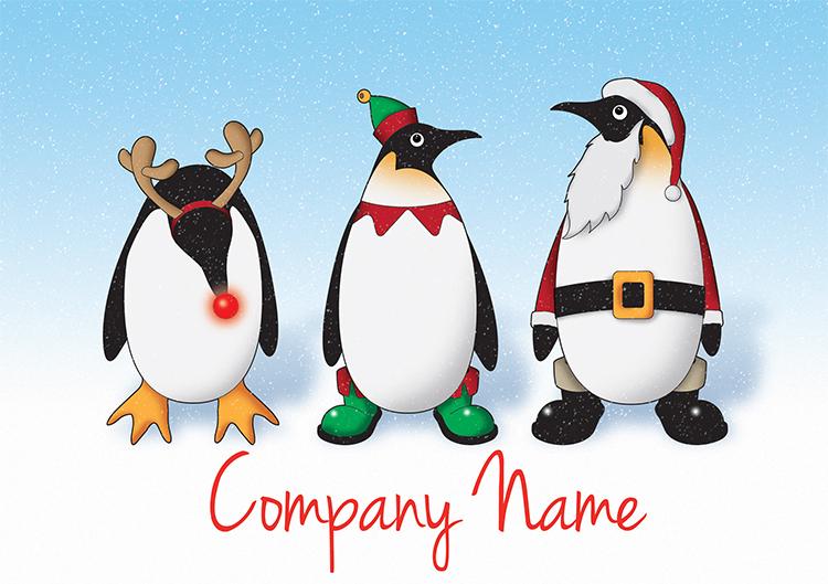 1631 - Penguin Trio Branded Christmas Card