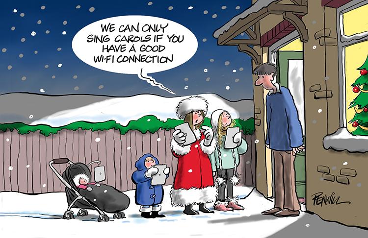 Funny13 - Carols by Wifi Branded Christmas Card