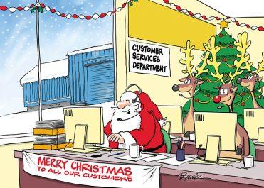 Funny15 - Santa Customer Service Branded Christmas Card