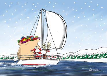 Funny7 - Santa Sailing Branded Christmas Card