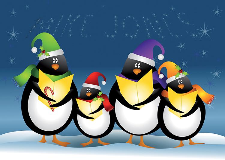 Personalised6 - Penguin Carols Branded Christmas card