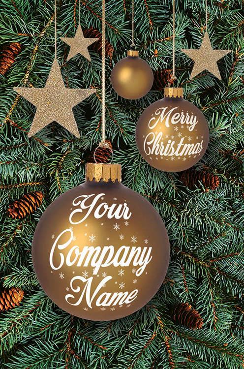 1610 - Golden Baubles Branded Christmas Card