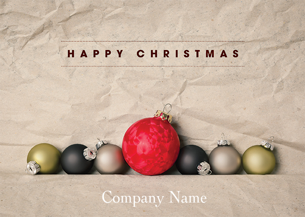 1660 - Row of Baubles Branded Christmas Card