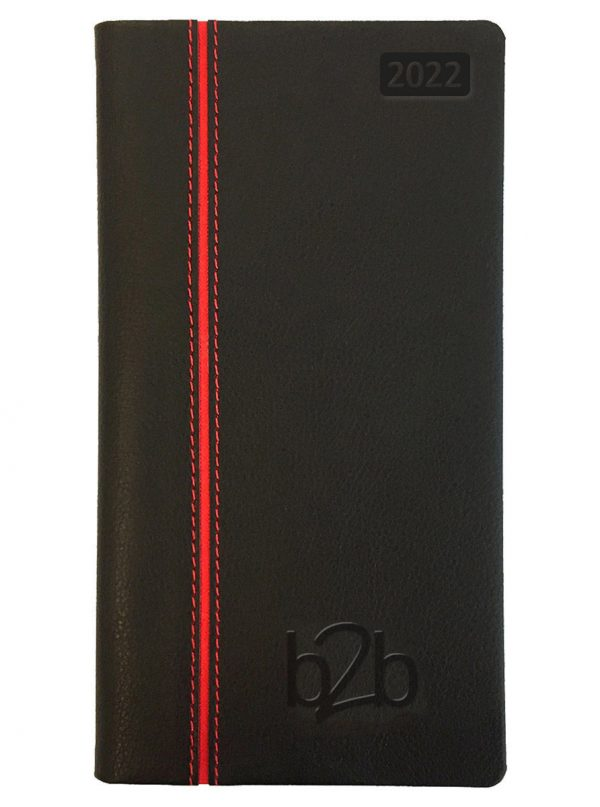 Allegro Pocket Diary - Week to View Diary - Cream Pages - Black-Red, 2022