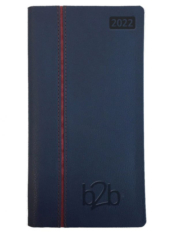 Allegro Pocket Diary - Week to View Diary - Cream Pages - Blue-Burgundy, 2022