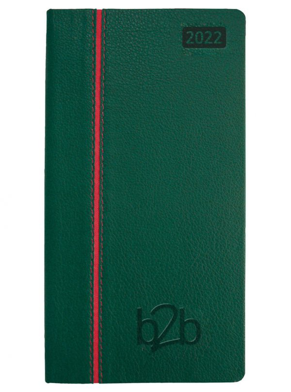 Allegro Pocket Diary - Week to View Diary - Cream Pages - Green-Red, 2022