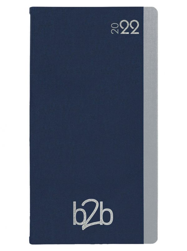 Duo Pocket Diary - Week to View Diary - White Pages - Blue-Silver, 2022
