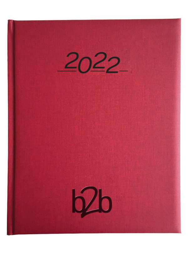 Nero Management Desk Diary - Week to View Diary - White Pages - Red, 2022