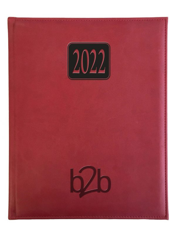Rio Management Desk Diary - Week to View Diary - Cream Pages - Red, 2022