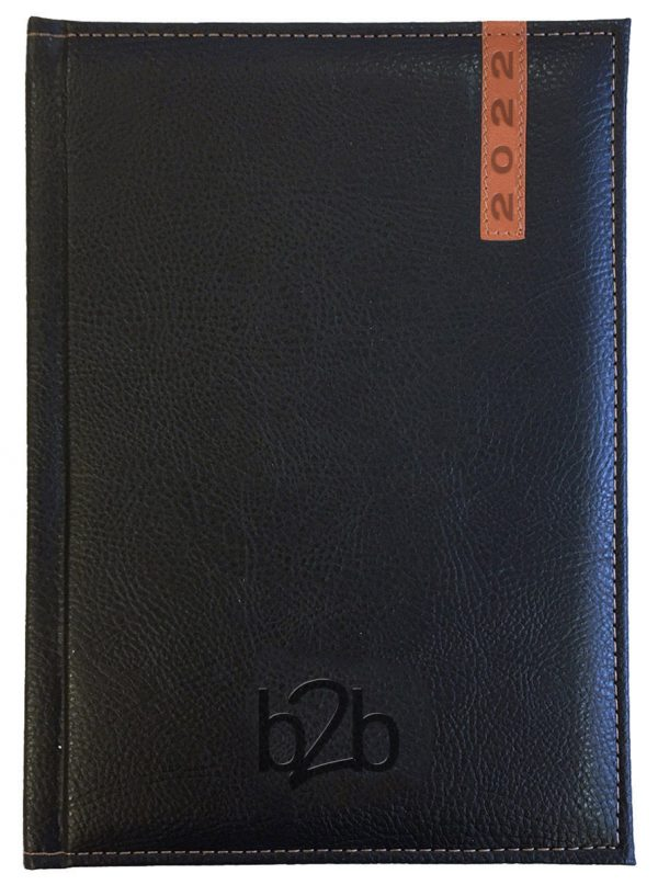 Santiago A5 Diary - Page A Day Diary - Cream Pages - Black-Tan, 2022