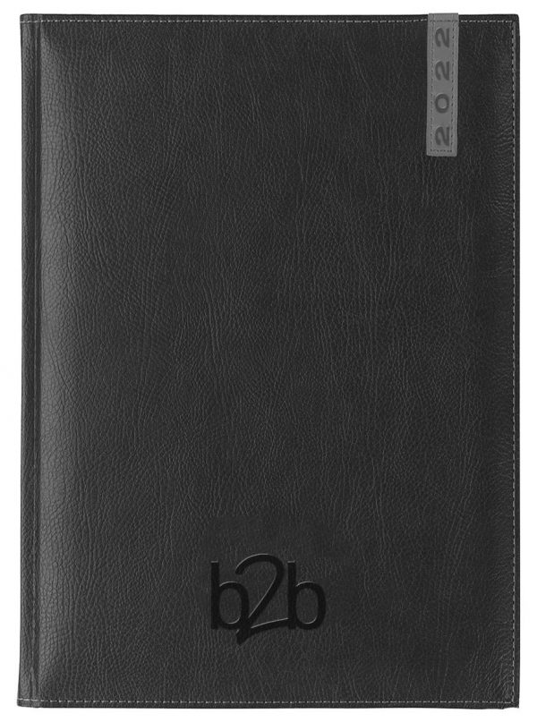 Santiago A5 Diary - Page A Day Diary - White Pages - Black-Gunmetal, 2022