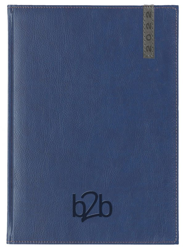 Santiago A5 Diary - Page A Day Diary - White Pages - Blue-Gunmetal, 2022