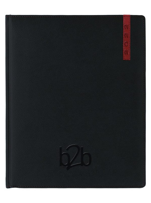 Santiago Management Desk Diary - Week to View Diary - Cream Pages - Black-Red, 2022