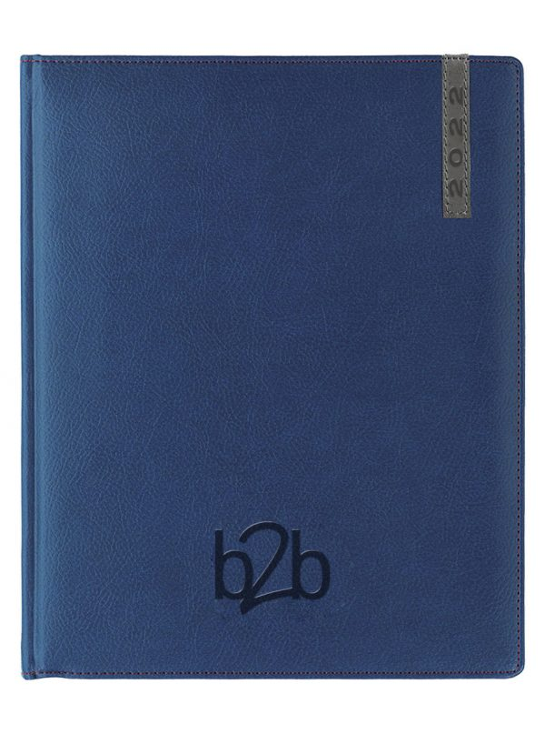 Santiago Management Desk Diary - Week to View Diary - White Pages - Blue-Gunmetal, 2022