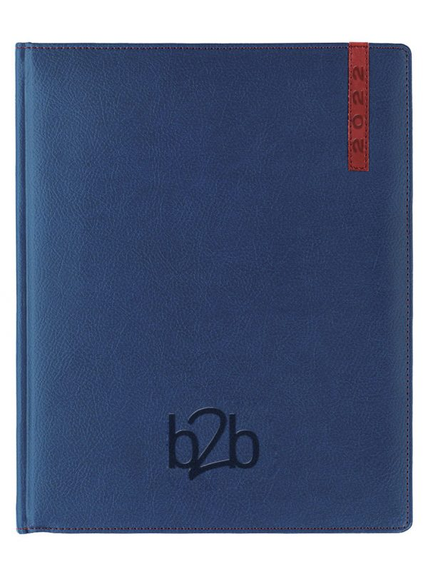 Santiago Management Desk Diary - Week to View Diary - White Pages - Blue-Red, 2022