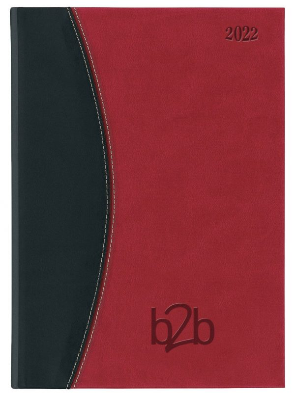 Sorrento A5 Diary - Page A Day Diary - Cream Pages - Red-Black, 2022
