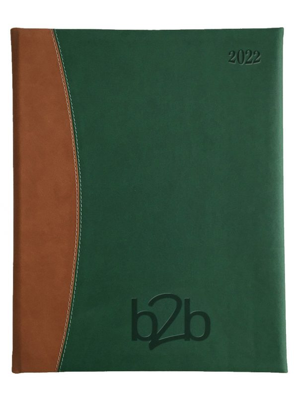 Sorrento Management Desk Diary - Week to View Diary - Cream Pages - Green-Tan, 2022