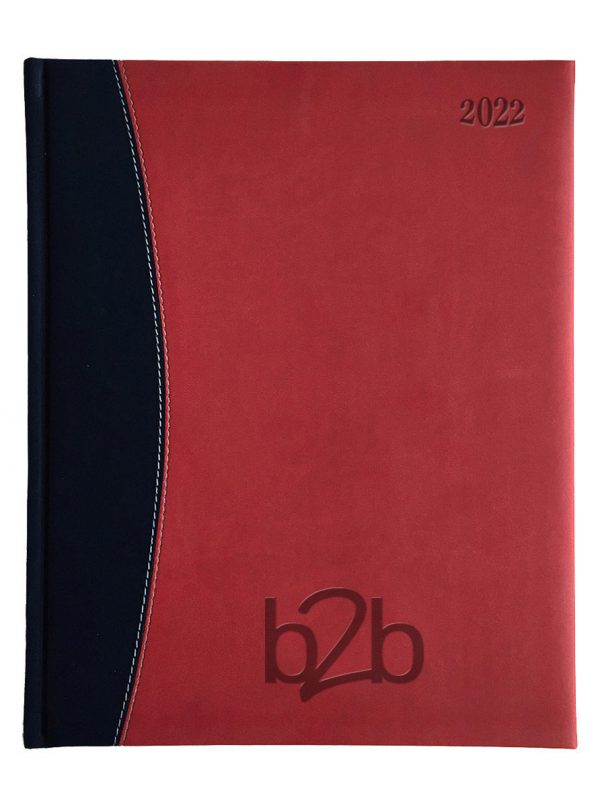 Sorrento Management Desk Diary - Week to View Diary - Cream Pages - Red-Black, 2022