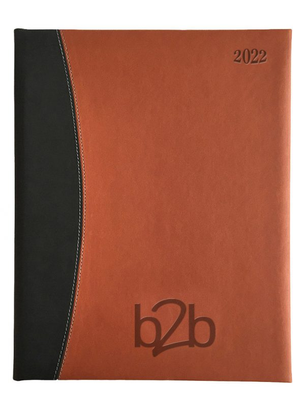 Sorrento Management Desk Diary - Week to View Diary - Cream Pages - Tan-Black, 2022