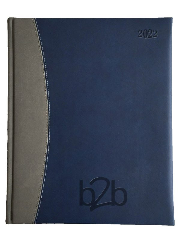 Sorrento Management Desk Diary - Week to View Diary - White Pages - Blue-Gunmetal, 2022