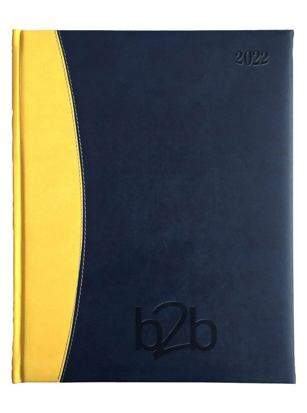 Sorrento Management Desk Diary - Week to View Diary - White Pages - Blue-Yellow, 2022