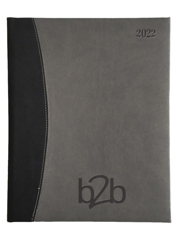 Sorrento Management Desk Diary - Week to View Diary - White Pages - Gunmetal-Black, 2022