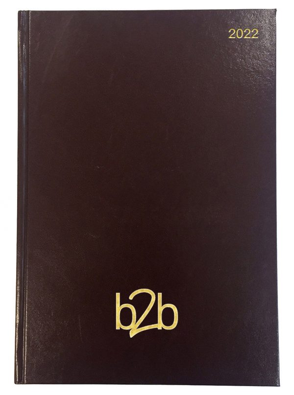 Strata A4 Diary - Page A Day Diary - White Pages - Burgundy, 2022