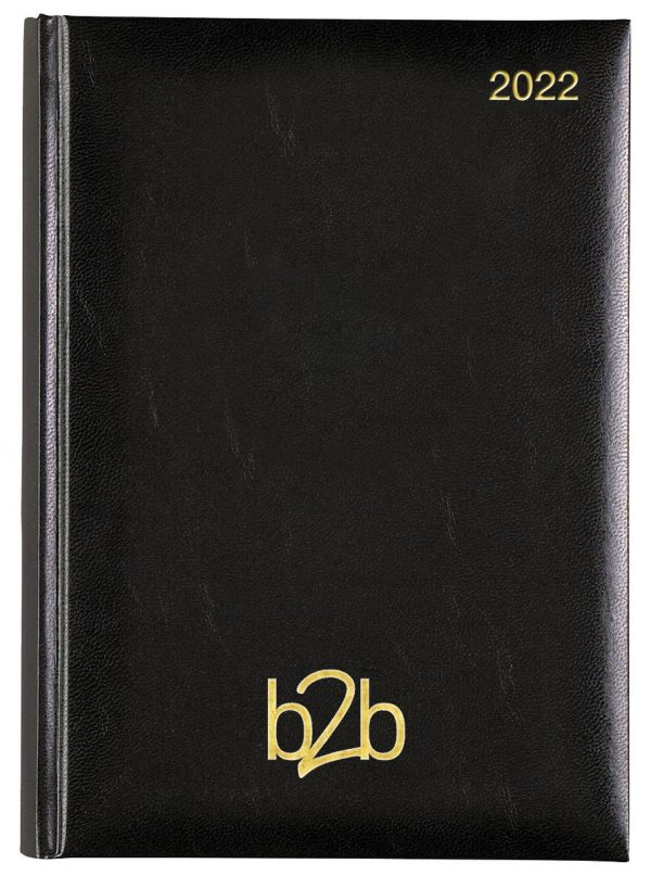 Strata A5 Diary - Page A Day Diary - White Pages - Black, 2022