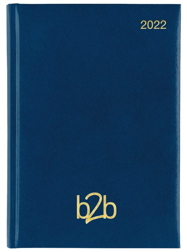 Strata A5 Diary - Page A Day Diary - White Pages - Blue, 2022