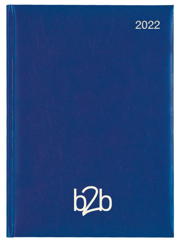 Strata A5 Diary - Page A Day Diary - White Pages - Mid-blue, 2022