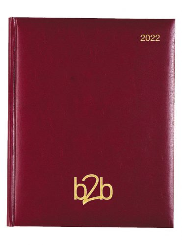 Strata Management Desk Diary - Week to View Diary - White Pages - Burgundy, 2022