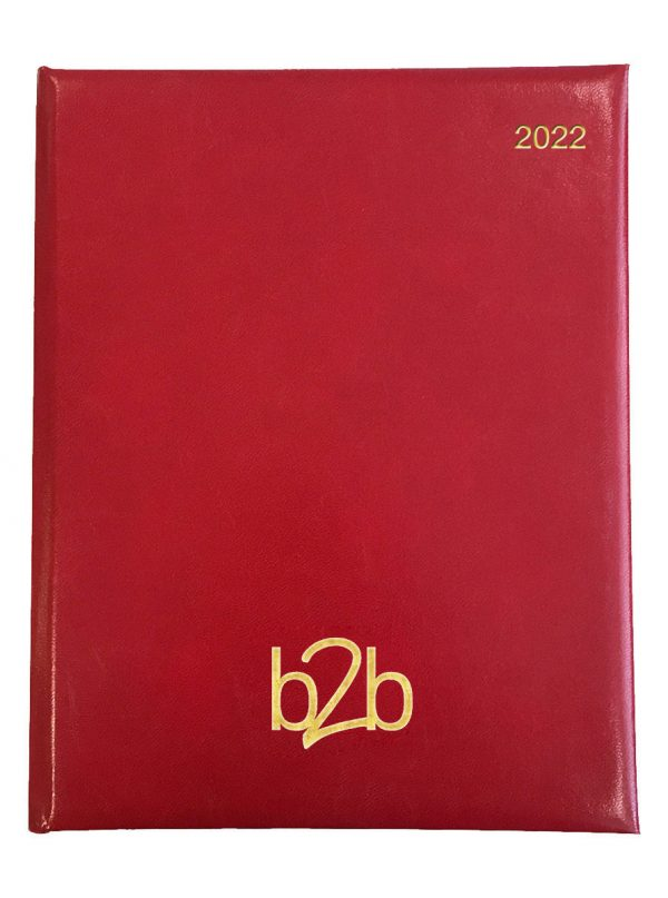 Strata Management Desk Diary - Week to View Diary - White Pages - Red, 2022